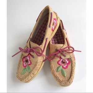 Sperry Topsider natural straw & flower shoes (EUC)